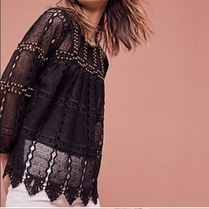 Anthropologie Maeve Studded Black Lace Top Auralis